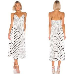 New Jill Stuart Polka Dot Pleated Midi Dress